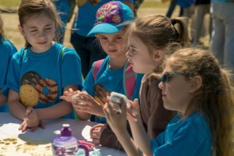 Girl Scouts enjoying their time at the Conservators Center's Girl Scout Day!